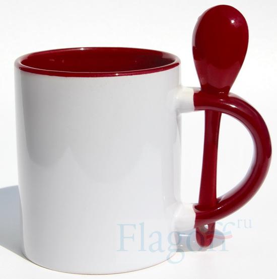 Кружка с ложкой темно-красная внутри  и цветная ручка
